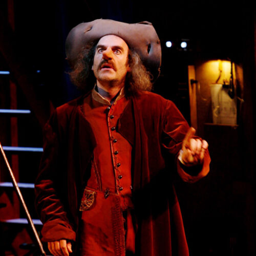 FRANCE - MAY 25:  Cyrano de Bergerac by Edmond Rostand's Comedie Francaise staged by Denis Podalydes - Costumes by Christian Lacroix, Eric Ruf scenery, Michel Vuillermoz (Cyrano) in Paris, France in May, 2006.  (Photo by Raphael GAILLARDE/Gamma-Rapho via Getty Images)